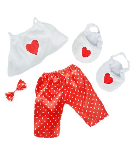 "8"" Teddy Bear Clothes - Satin Heart Pyjamas with slippers"